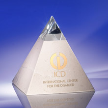 Crystal and White Marble Pyramid